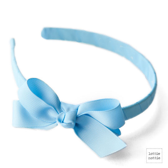 Light Blue Bow Alice band