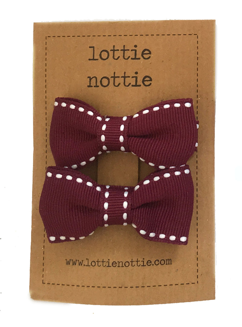 Small Pair Of Swiss Dot Burgundy Bows