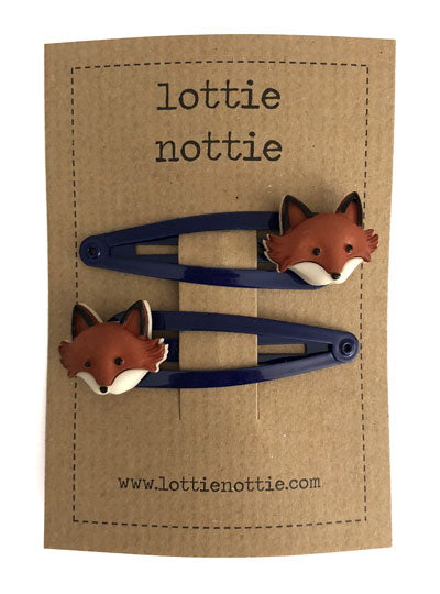 Foxes on Navy Hair Clips