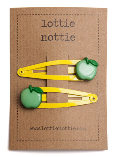Green Apples on Yellow Hair Clips