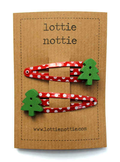Green Christmas Trees on Red Spotty Hair Clips