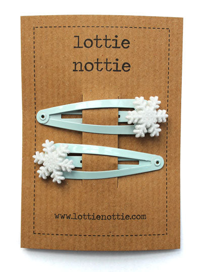 Snowflake On Ice Blue Hair Clips