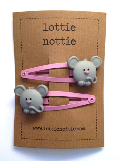 Mice on Pink Hair Clips