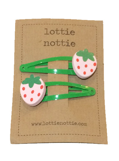 Pink Strawberry On Green Hair Clips
