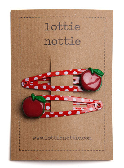 Red Apples on Spotty Hair Clips
