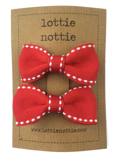 Small Pair Of Stitch Red Bows