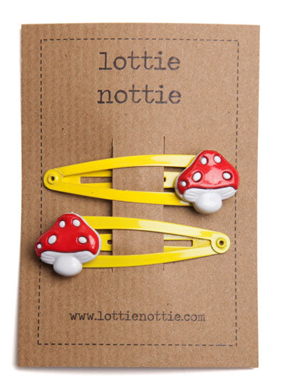 Toadstools On Yellow Hair Clips