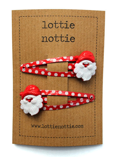 Father Christmas on Red Spotty Hair Clips