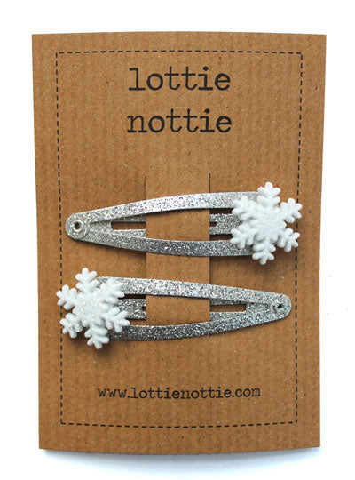 Snowflakes on Silver Sparkle Hair Clips