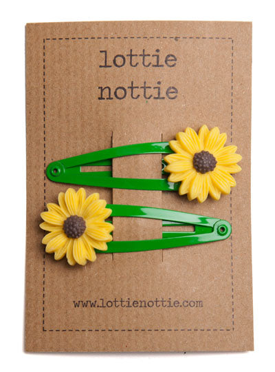 Sunflower On Green Hair Clips