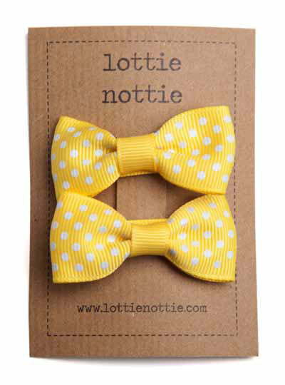 Small Pair Of Swiss Dot Bright Yellow Bows