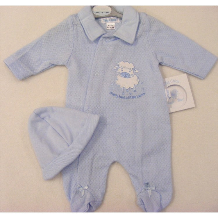 Little Chick Premature Baby Mary Little Lamb Sleepsuit and Hat