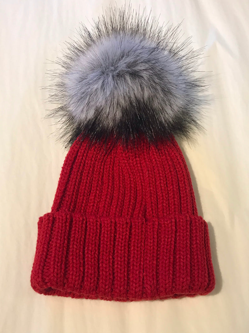 Faux Fur Single Pompom Ribbed Hat Red