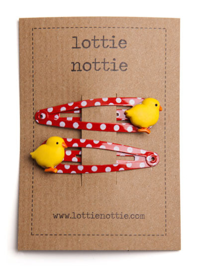 Chicks on Red Spotty Hair Clips