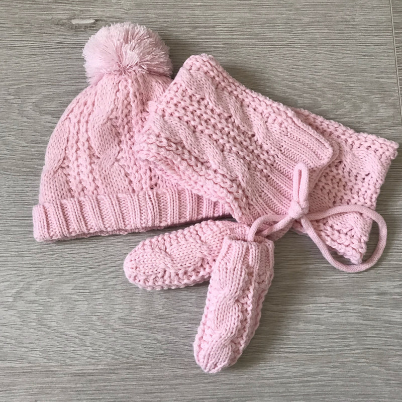 Pink Hat, Scarf and Mittens