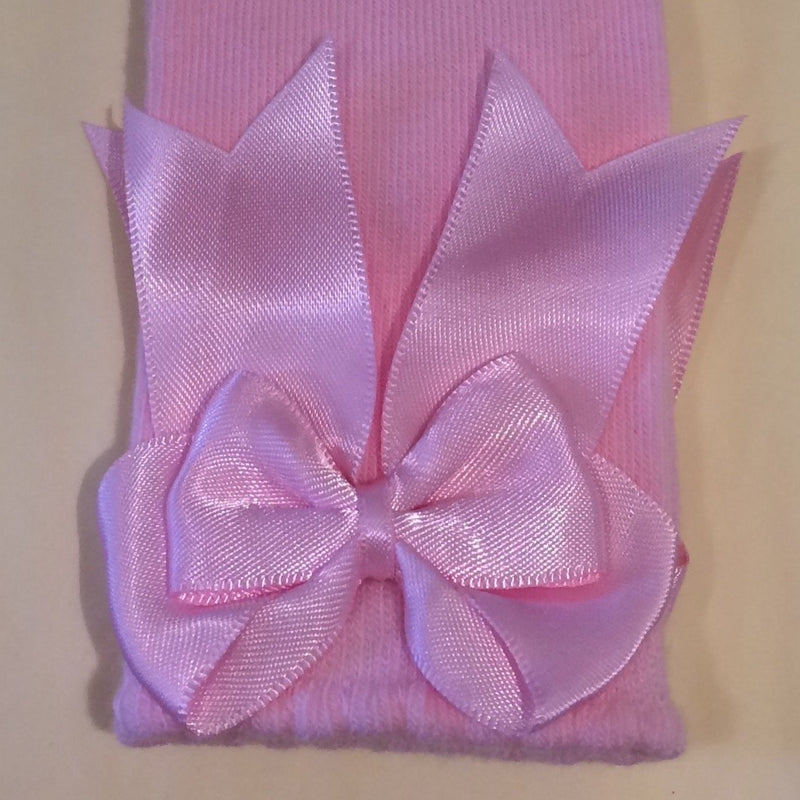 Knee high bow socks Baby Pink