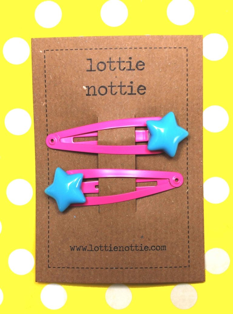 Bright Blue Stars on Bright Pink Hair Clips
