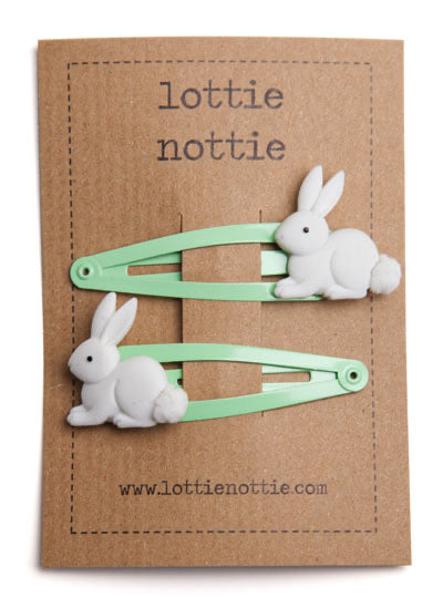 Bunny Rabbits on Pale Green Hair Clips