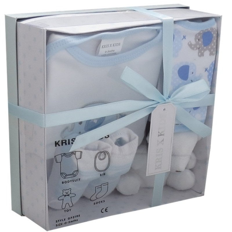 Baby Elephant Boxed Blue Gift Set