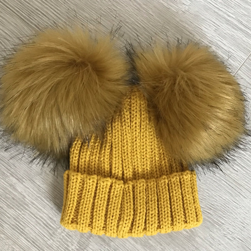 Faux Fur Double Pompom Ribbed Hat Mustard