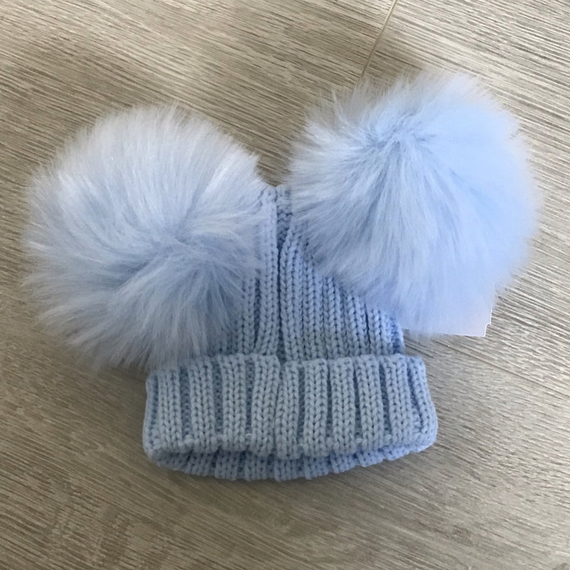 Faux Fur Double Pompom Ribbed Hat Baby Blue