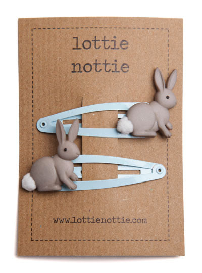 Bunny Rabbits on Pale Blue Hair Clips
