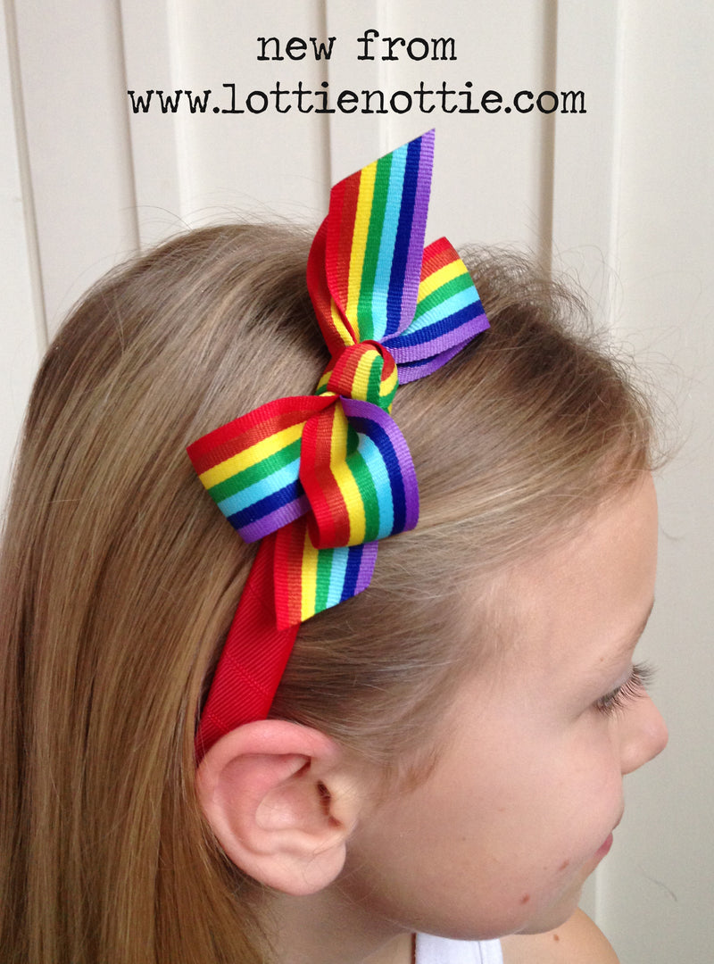 Rainbow Bow On Red Alice band
