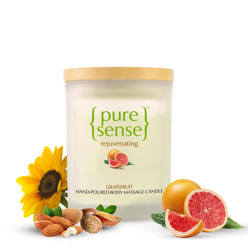 PureSense Grapefruit Rejuvenating Hand Poured Body Massage Candle - Sulphate and Paraben Free