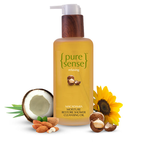 PureSense Macadamia Moisture Restore Shower Cleansing Oil - Sulphate & Paraben Free