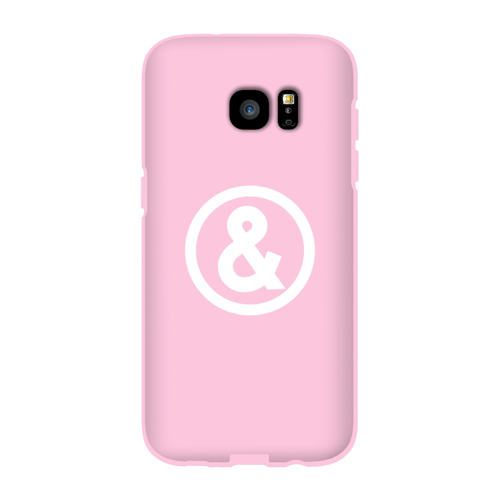 Circle Logo Phone Case in Light Pink with White