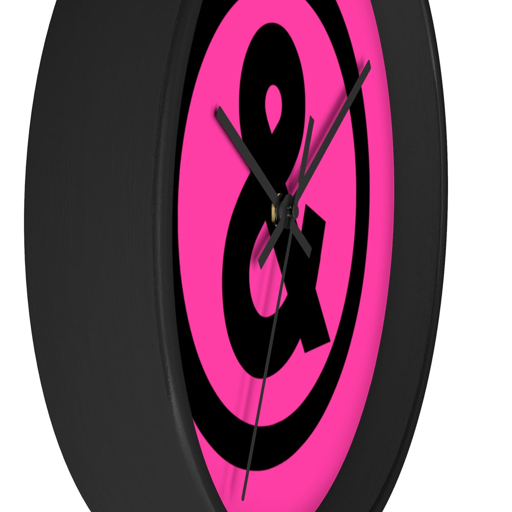 Circle Logo Wall Clock in Hot Pink with Black