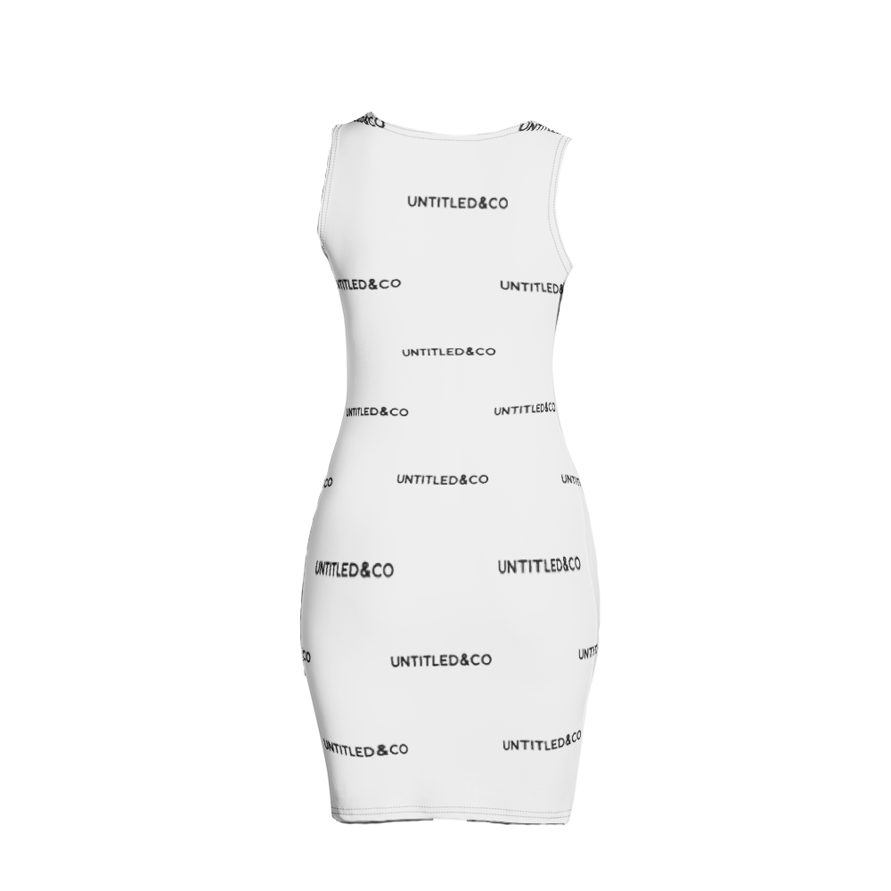 Taya Dress in White with Black