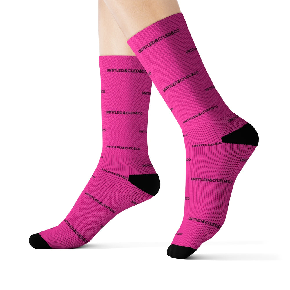 Cam Socks in Hot Pink with Black