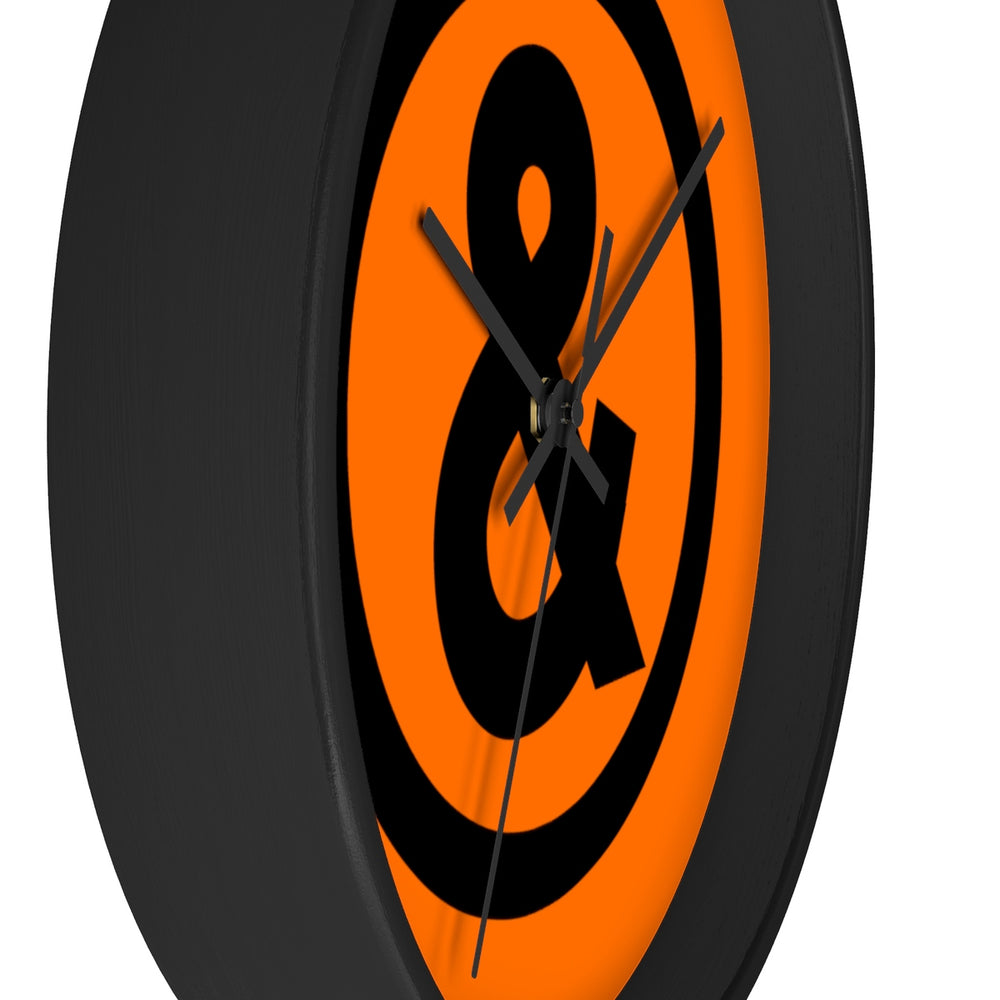 Circle Logo Wall Clock in Orange with Black
