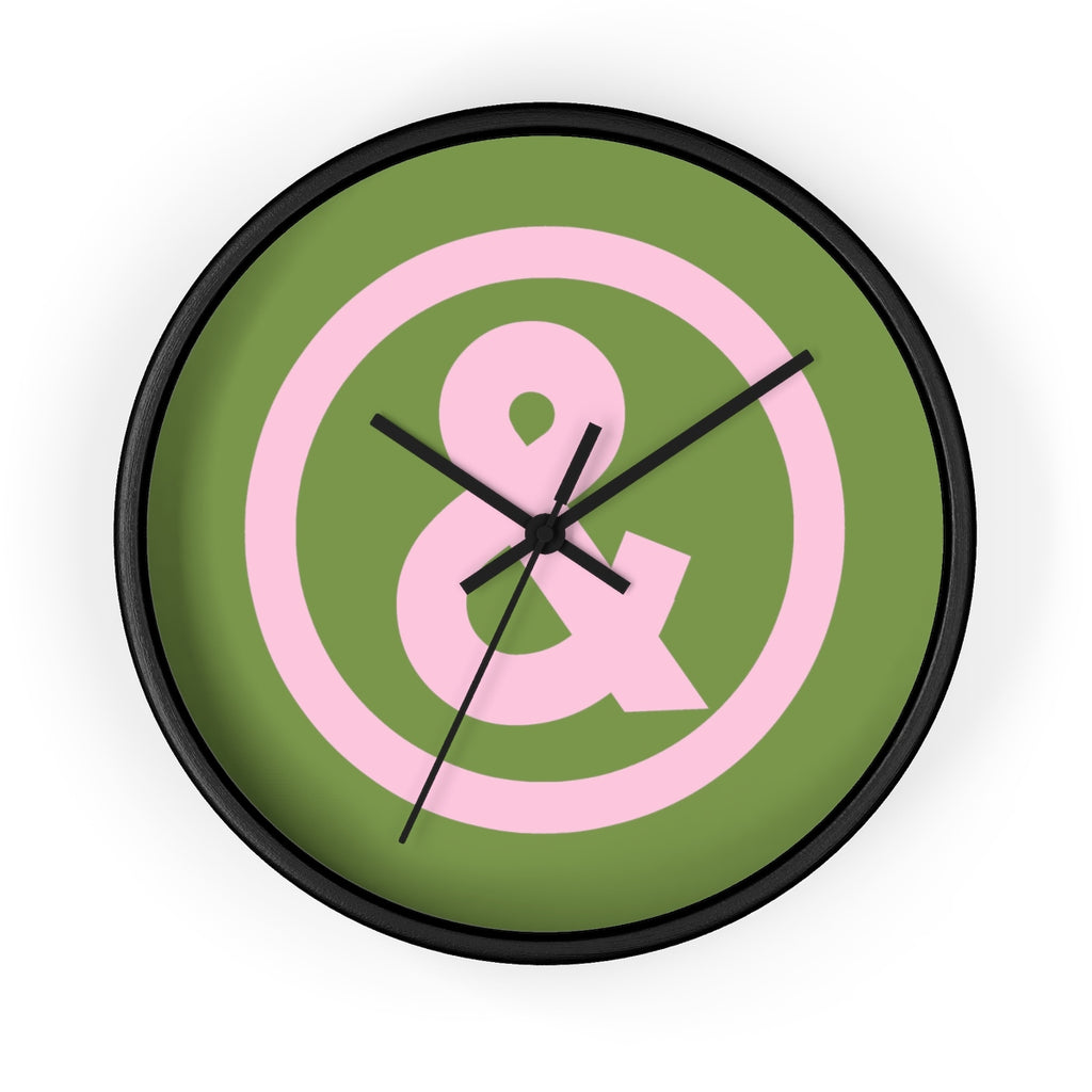Circle Logo Wall Clock in Military with Pink