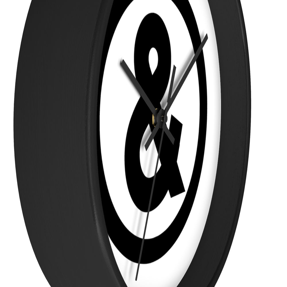 Circle Logo Wall Clock in White with Black