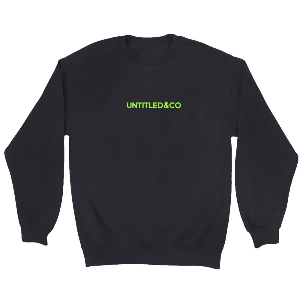 Script Logo Crewneck Sweatshirt in Black with Green