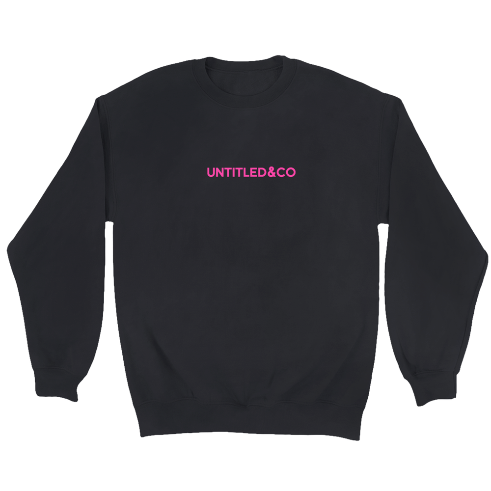 Script Logo Crewneck Sweatshirt in Black with Hot Pink