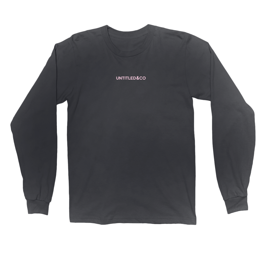 Script Logo Long Sleeve Shirt in Black with Light Pink