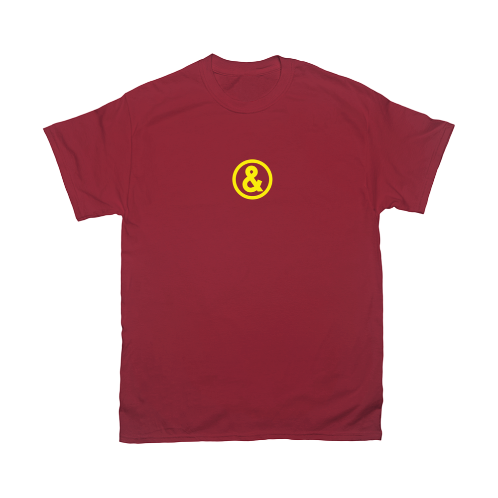Circle Logo T-Shirt in Burgundy with Yellow