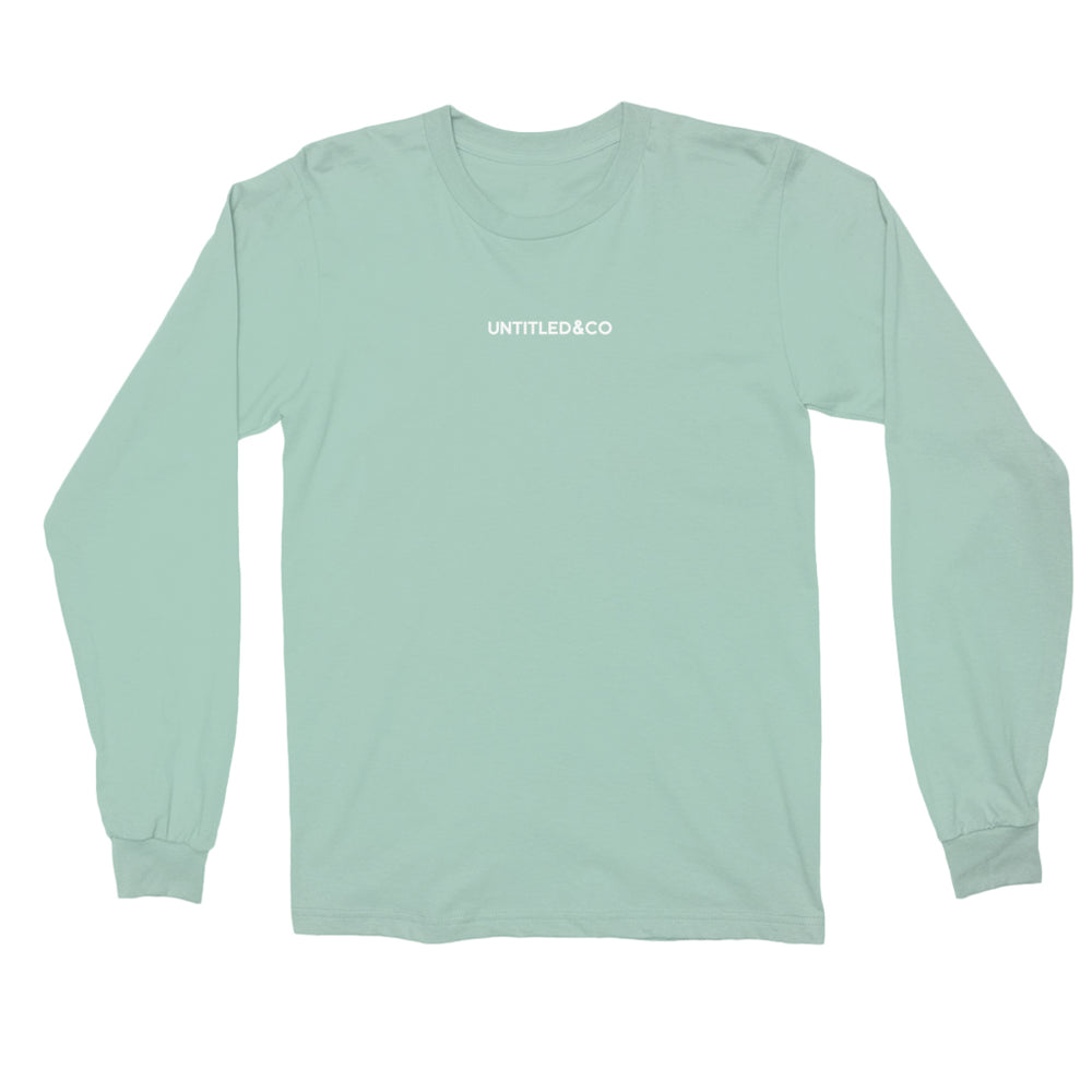 Script Logo Long Sleeve Shirt in Celadon with White