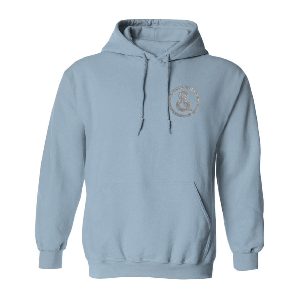 Glitter Hoodie in Light Blue