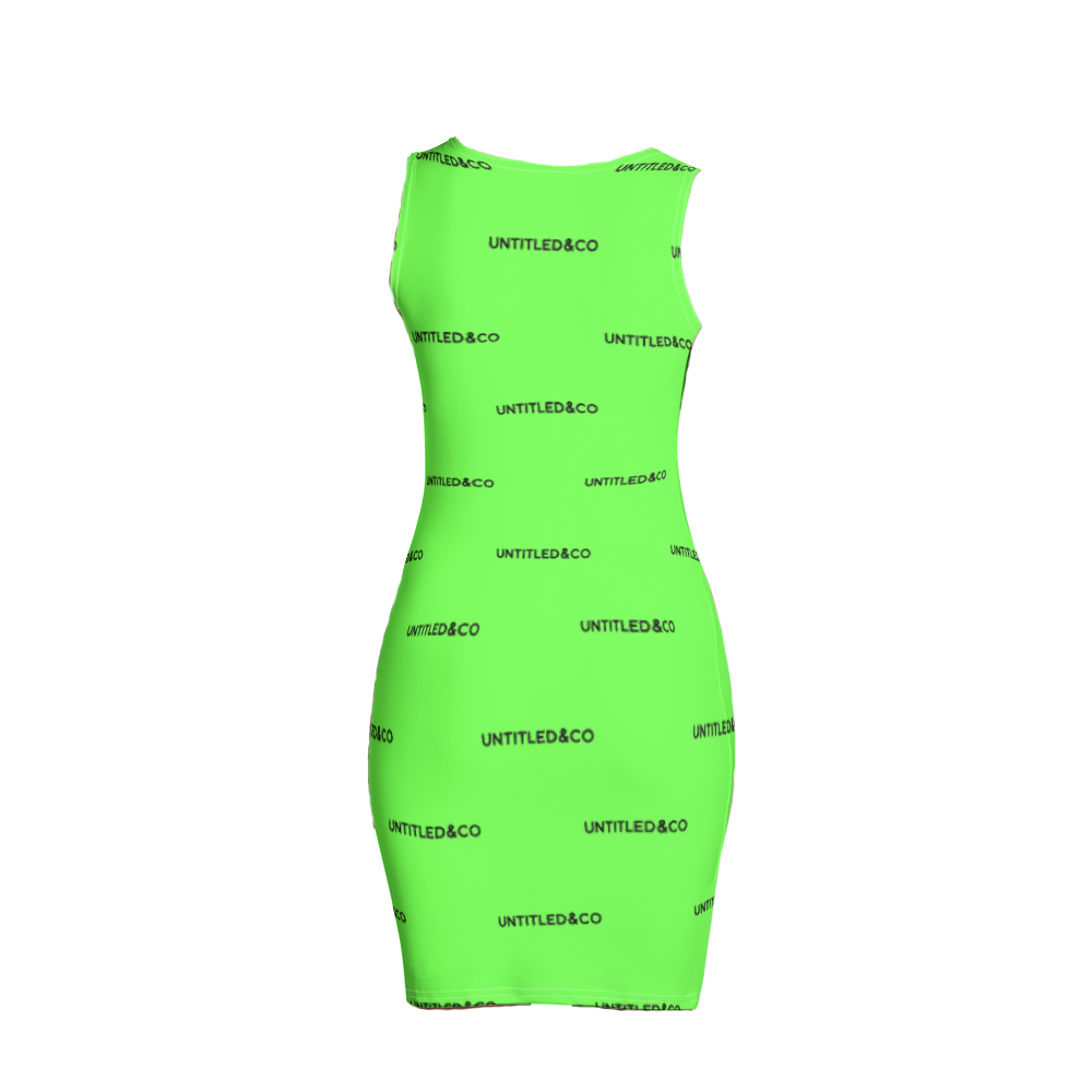 Taya Dress in Green with Black