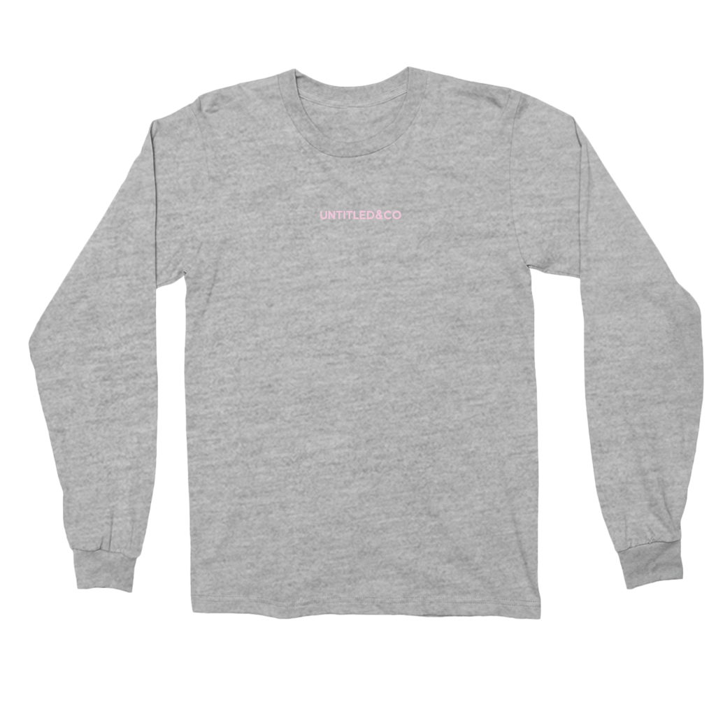 Script Logo Long Sleeve Shirt in Grey and Light Pink