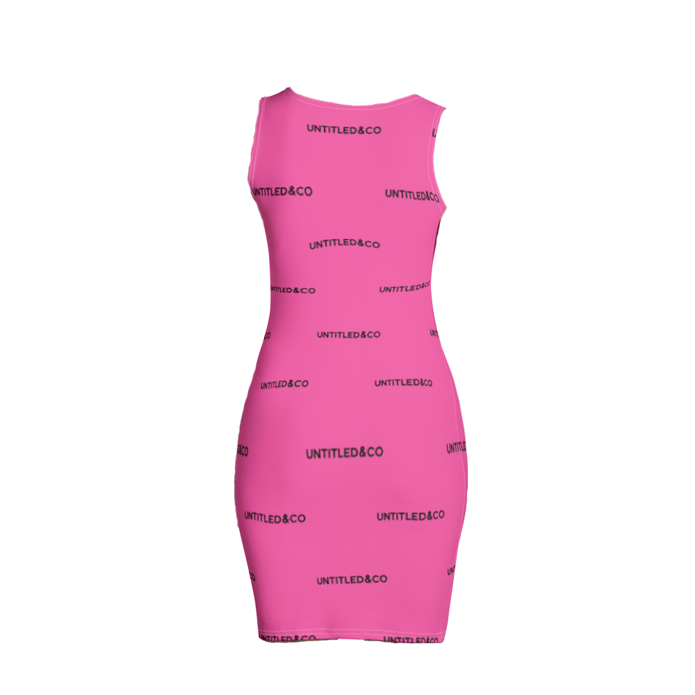 Taya Dress in Hot Pink with Black