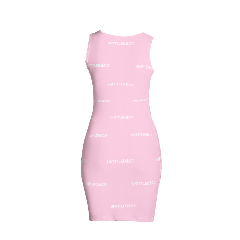 Taya Dress in Light Pink with White