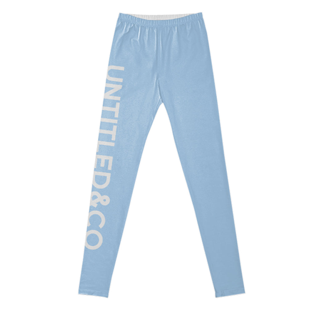 Nicole Leggings in Light Blue with White