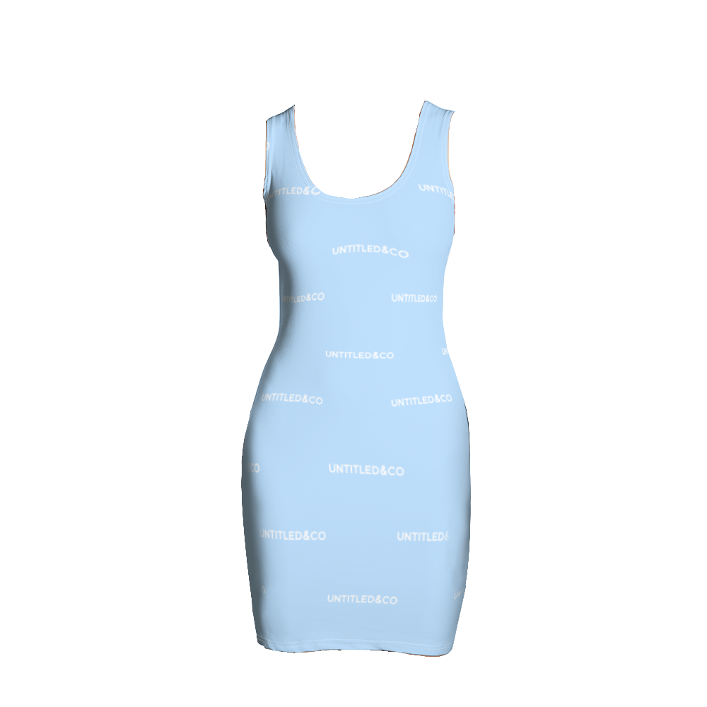 Taya Dress in Light Blue with White