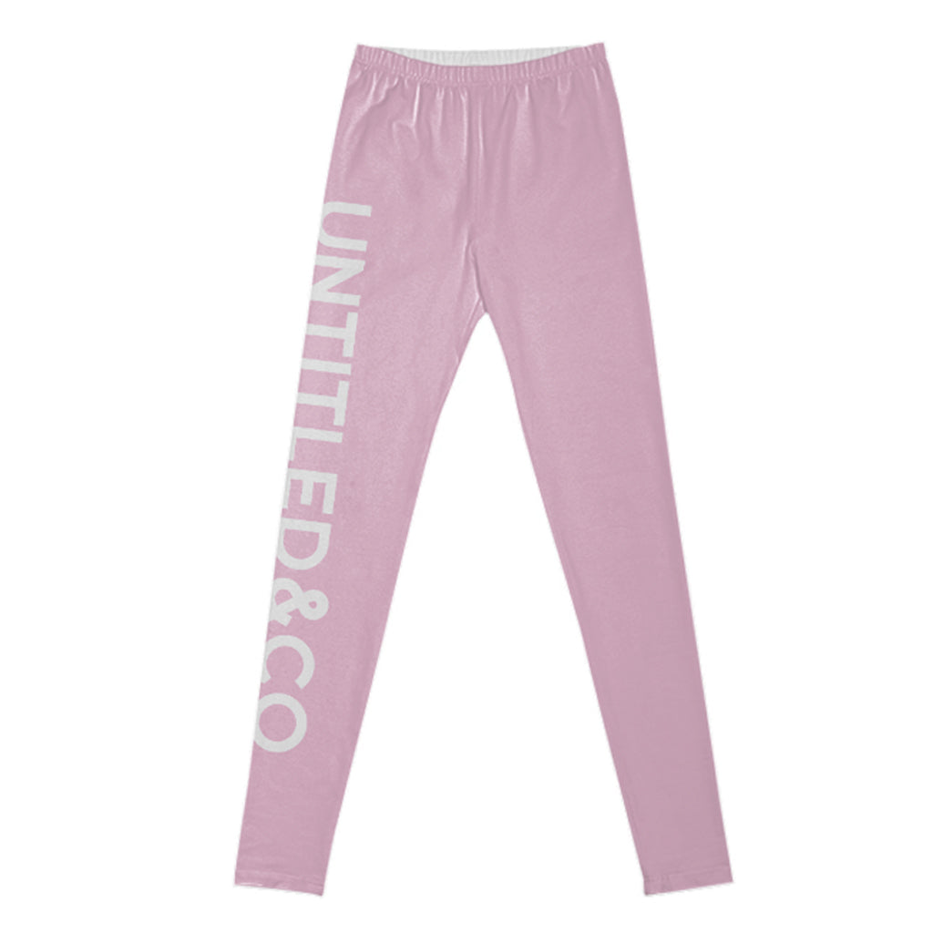 Nicole Leggings in Light Pink with White