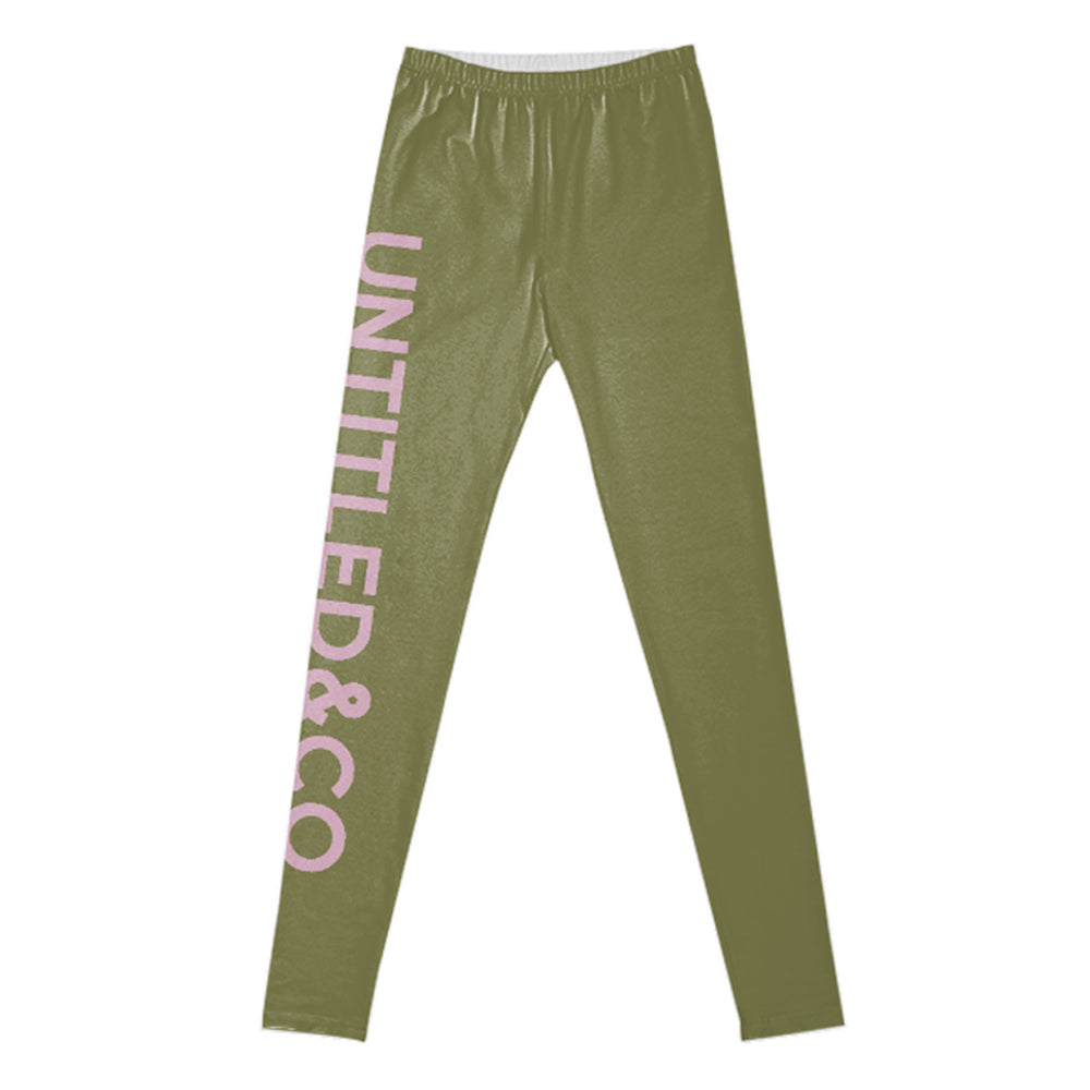 Nicole Leggings in Military with Pink
